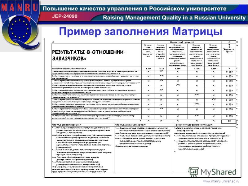 www.manru.uniyar.ac.ru Пример заполнения Матрицы