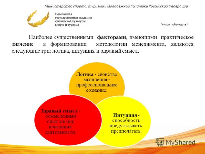 Министерство спорта, туризма и молодежной политики Российской Федерации Учись побеждать! 8 Наиболее существенными факторами, имеющими практическое значение в формировании методологии менеджмента, являются следующие три: логика, интуиция и здравый смы