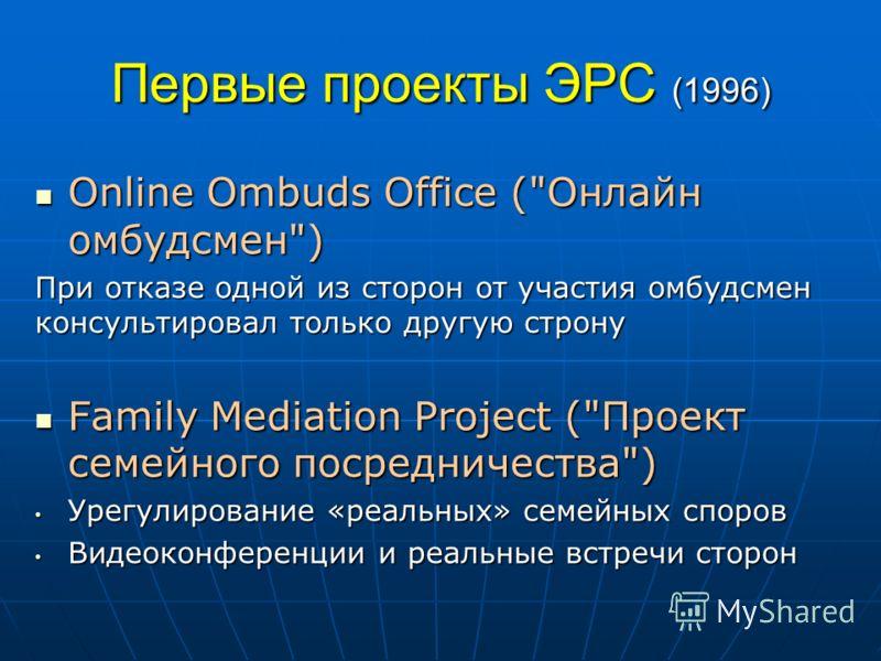 Первые проекты ЭРС (1996) Online Ombuds Office (