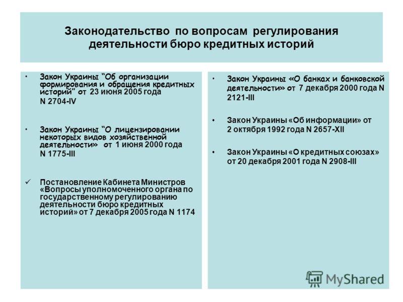 Законодательство по вопросам регулирования деятельности бюро кредитных историй Закон Украины Об организации формирования и обращения кредитных историй от 23 июня 2005 года N 2704-IV Закон Украины О лицензировании некоторых видов хозяйственной деятель
