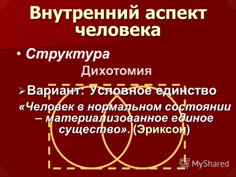 Структура Вариант: Условное единство Вариант: Условное единство «Человек в нормальном состоянии – материализованное единое существо». (Эриксон) Внутренний аспект человека Дихотомия