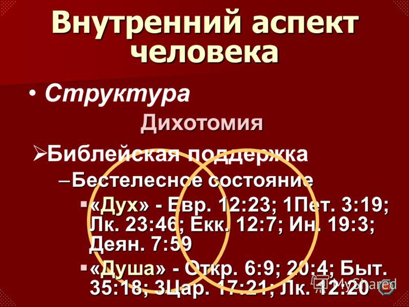 Структура –Бестелесное состояние «Дух» - Евр. 12:23; 1Пет. 3:19; Лк. 23:46; Екк. 12:7; Ин. 19:3; Деян. 7:59 «Дух» - Евр. 12:23; 1Пет. 3:19; Лк. 23:46; Екк. 12:7; Ин. 19:3; Деян. 7:59 «Душа» - Откр. 6:9; 20:4; Быт. 35:18; 3Цар. 17:21; Лк. 12:20 «Душа»