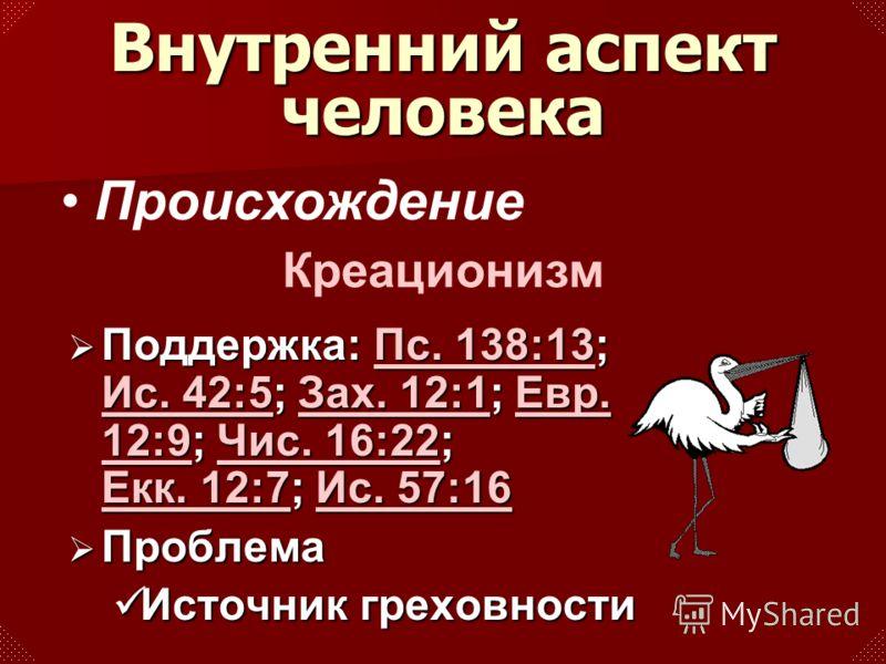 Происхождение Креационизм Поддержка: Пс. 138:13; Ис. 42:5; Зах. 12:1; Евр. 12:9; Чис. 16:22; Екк. 12:7; Ис. 57:16 Поддержка: Пс. 138:13; Ис. 42:5; Зах. 12:1; Евр. 12:9; Чис. 16:22; Екк. 12:7; Ис. 57:16Пс. 138:13 Ис. 42:5Зах. 12:1Евр. 12:9Чис. 16:22 Е
