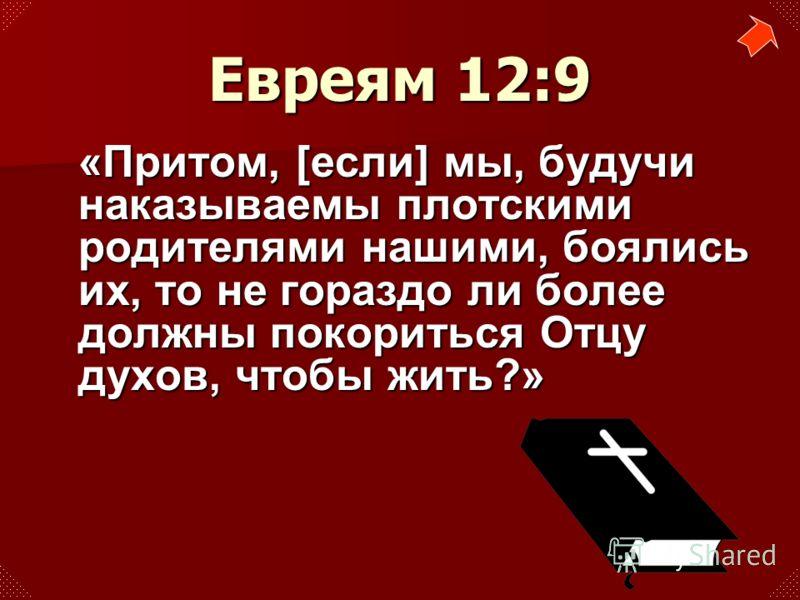 «Притом, [если] мы, будучи наказываемы плотскими родителями нашими, боялись их, то не гораздо ли более должны покориться Отцу духов, чтобы жить?» Евреям 12:9