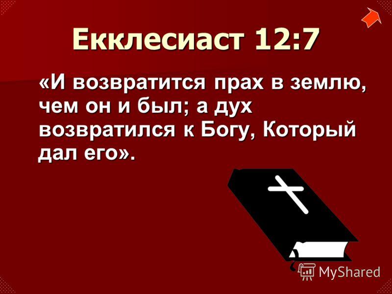 «И возвратится прах в землю, чем он и был; а дух возвратился к Богу, Который дал его». Екклесиаст 12:7