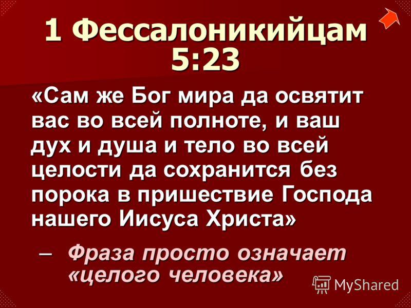 –Фраза просто означает «целого человека» 1 Фессалоникийцам 5:23 «Сам же Бог мира да освятит вас во всей полноте, и ваш дух и душа и тело во всей целости да сохранится без порока в пришествие Господа нашего Иисуса Христа»