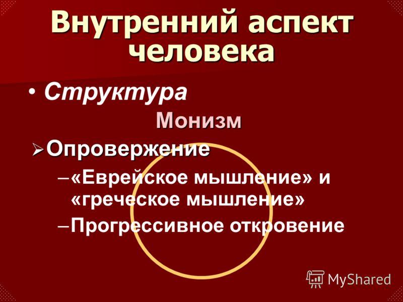 Структура Опровержение Опровержение –«Еврейское мышление» и «греческое мышление» –Прогрессивное откровение Внутренний аспект человека Монизм