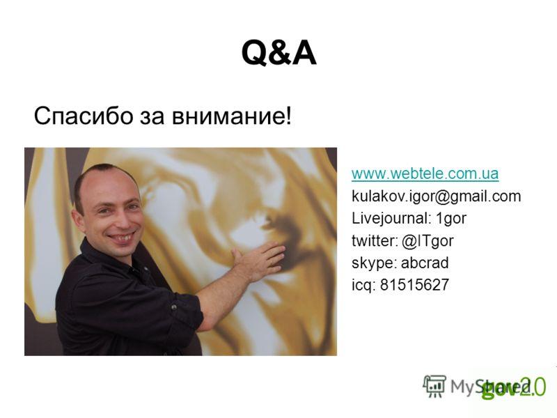 Q&A Спасибо за внимание! www.webtele.com.ua kulakov.igor@gmail.com Livejournal: 1gor twitter: @ITgor skype: abcrad icq: 81515627