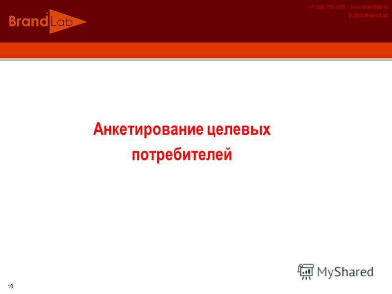 +7 (095) 775-1280 :: www.brandlab.ru © 2004 Brand Lab 18 Анкетирование целевых потребителей