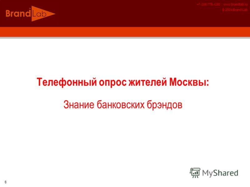+7 (095) 775-1280 :: www.brandlab.ru © 2004 Brand Lab 8 Телефонный опрос жителей Москвы: Знание банковских брэндов