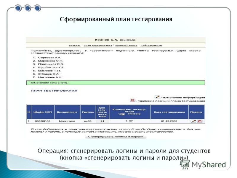 Сформированный план тестирования Операция: сгенерировать логины и пароли для студентов (кнопка «сгенерировать логины и пароли»)