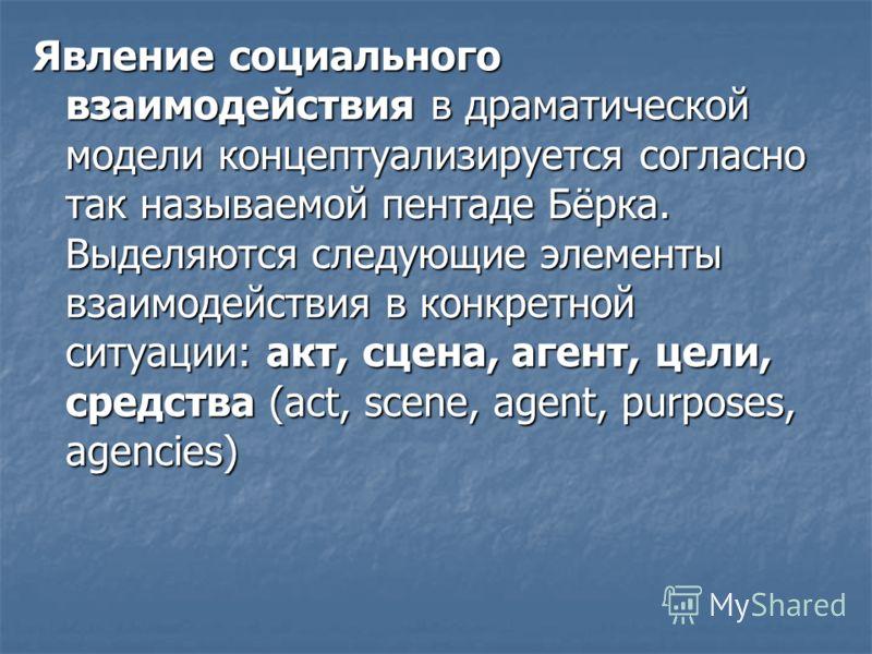 Явление социального взаимодействия в драматической модели концептуализируется согласно так называемой пентаде Бёрка. Выделяются следующие элементы взаимодействия в конкретной ситуации: акт, сцена, агент, цели, средства (act, scene, agent, purposes, a