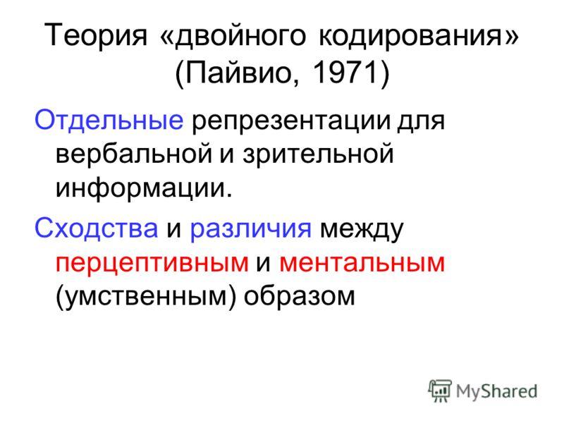 Теория «двойного кодирования» (Пайвио, 1971) Отдельные репрезентации для вербальной и зрительной информации. Сходства и различия между перцептивным и ментальным (умственным) образом