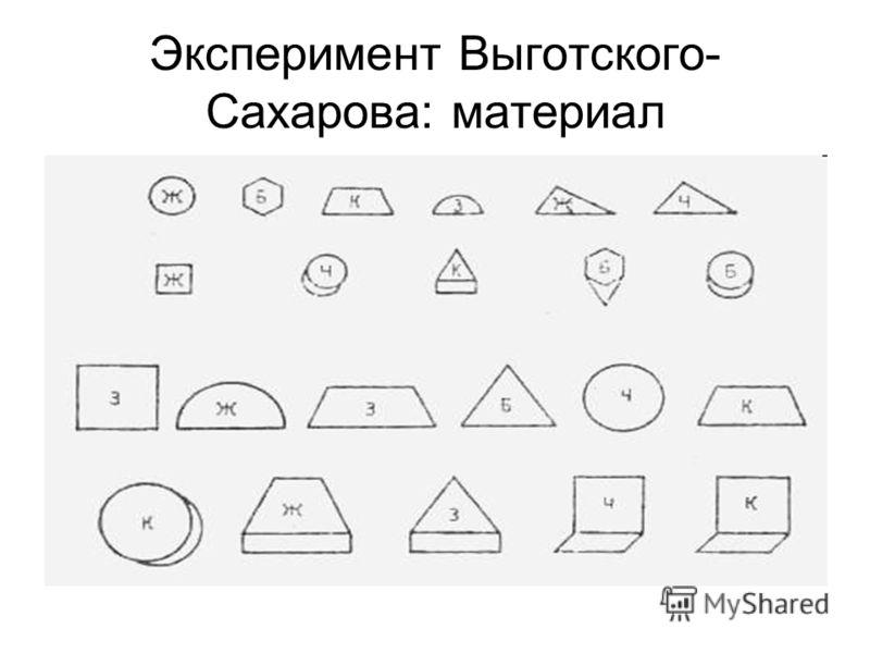 Эксперимент Выготского- Сахарова: материал