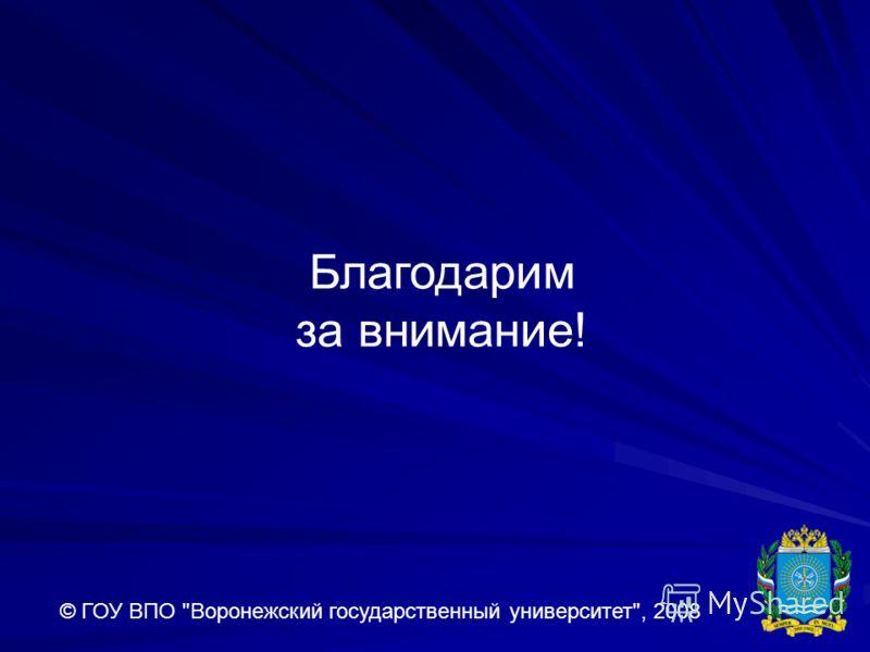 Благодарим за внимание! © ГОУ ВПО Воронежский государственный университет, 2008