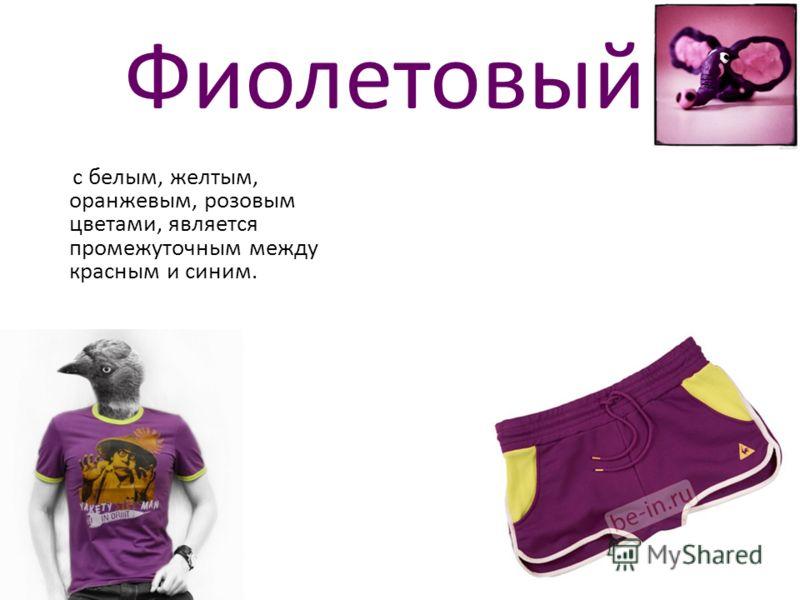 Фиолетовый с белым, желтым, оранжевым, розовым цветами, является промежуточным между красным и синим.