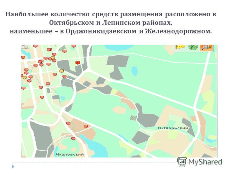 Наибольшее количество средств размещения расположено в Октябрьском и Ленинском районах, наименьшее – в Орджоникидзевском и Железнодорожном.