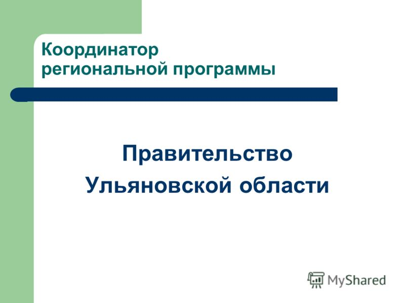 Координатор региональной программы Правительство Ульяновской области