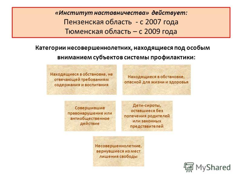 «Институт наставничества» действует: Пензенская область - с 2007 года Тюменская область – с 2009 года Категории несовершеннолетних, находящиеся под особым вниманием субъектов системы профилактики: Находящиеся в обстановке, не отвечающей требованиям с