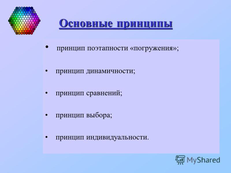 Основные принципы Основные принципы принцип поэтапности «погружения»; принцип динамичности; принцип сравнений; принцип выбора; принцип индивидуальности.
