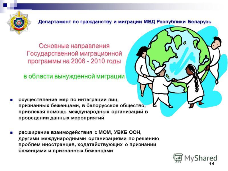 14 Основные направления Государственной миграционной программы на 2006 - 2010 годы в области вынужденной миграции осуществление мер по интеграции лиц, признанных беженцами, в белорусское общество, привлекая помощь международных организаций в проведен