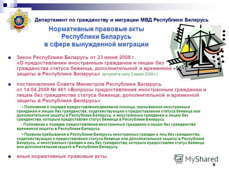6 Нормативные правовые акты Республики Беларусь в сфере вынужденной миграции Закон Республики Беларусь от 23 июня 2008 г. «О предоставлении иностранным гражданам и лицам без гражданства статуса беженца, дополнительной и временной защиты в Республике
