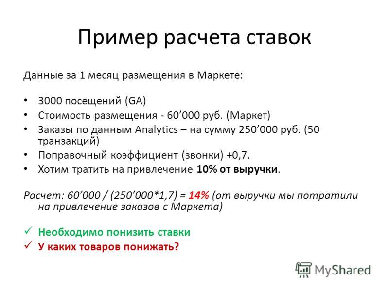 Пример расчета ставок Данные за 1 месяц размещения в Маркете: 3000 посещений (GA) Стоимость размещения - 60000 руб. (Маркет) Заказы по данным Analytics – на сумму 250000 руб. (50 транзакций) Поправочный коэффициент (звонки) +0,7. Хотим тратить на при