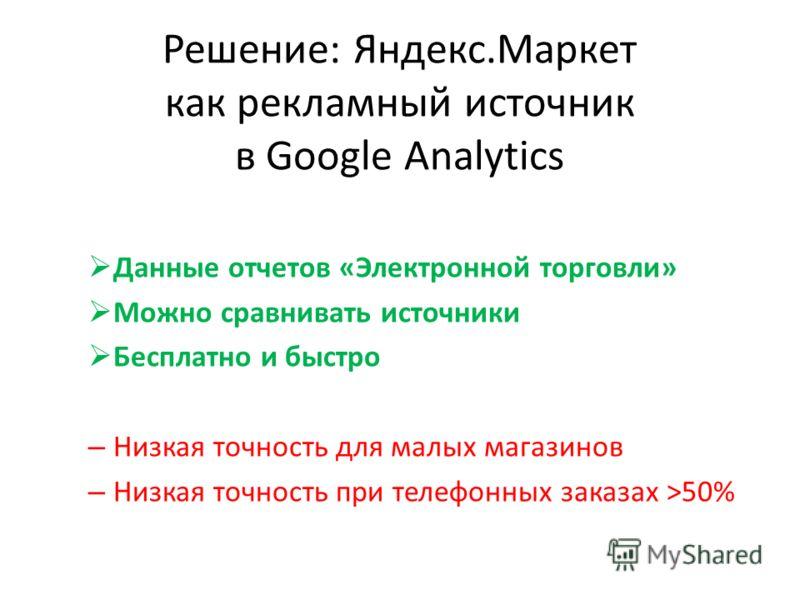 Решение: Яндекс.Маркет как рекламный источник в Google Analytics Данные отчетов «Электронной торговли» Можно сравнивать источники Бесплатно и быстро – Низкая точность для малых магазинов – Низкая точность при телефонных заказах >50%