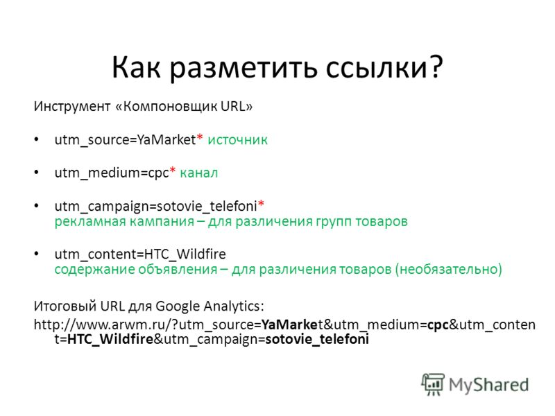 Как разметить ссылки? Инструмент «Компоновщик URL» utm_source=YaMarket* источник utm_medium=cpc* канал utm_campaign=sotovie_telefoni* рекламная кампания – для различения групп товаров utm_content=HTC_Wildfire содержание объявления – для различения то
