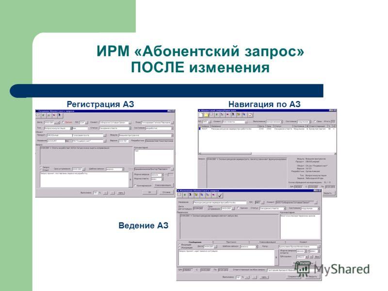 ИРМ «Абонентский запрос» ПОСЛЕ изменения Навигация по АЗРегистрация АЗ Ведение АЗ