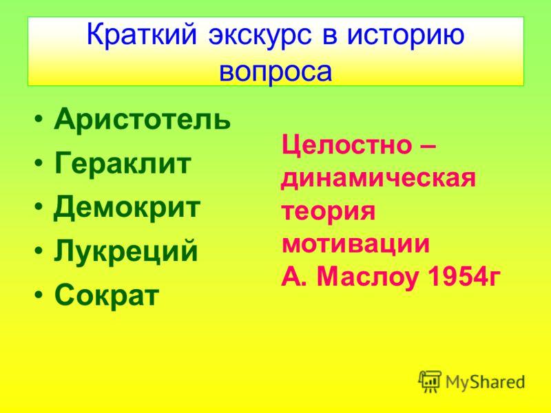 Краткий экскурс в историю вопроса Аристотель Гераклит Демокрит Лукреций Сократ Целостно – динамическая теория мотивации А. Маслоу 1954г
