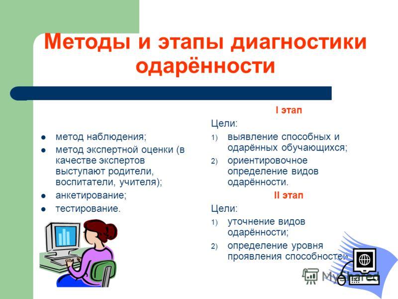 Методы и этапы диагностики одарённости метод наблюдения; метод экспертной оценки (в качестве экспертов выступают родители, воспитатели, учителя); анкетирование; тестирование. I этап Цели: 1) выявление способных и одарённых обучающихся; 2) ориентирово