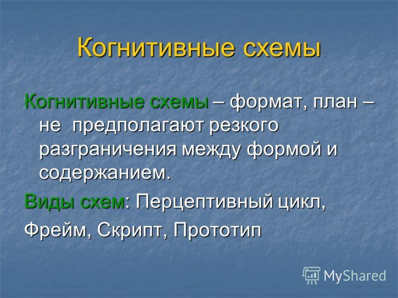 Когнитивные схемы Когнитивные