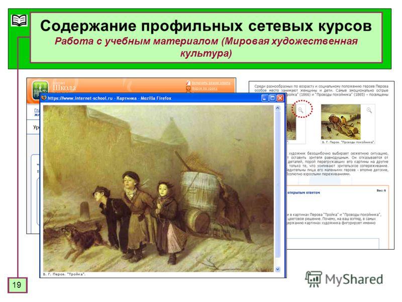 19 Содержание профильных сетевых курсов Работа с учебным материалом (Мировая художественная культура)