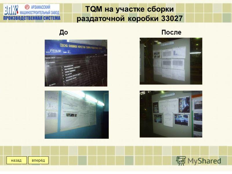 TQM на участке сборки раздаточной коробки 33027 ДоПосле вперёдназад