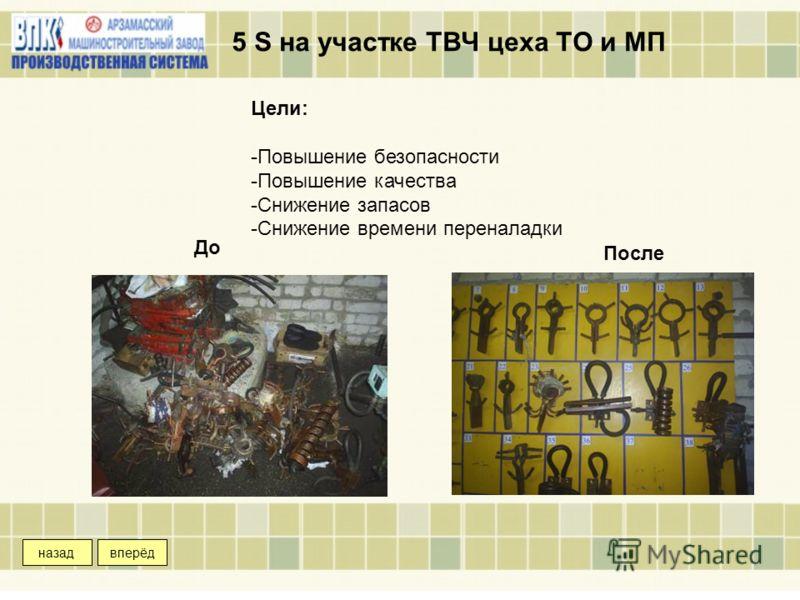 5 S на участке ТВЧ цеха ТО и МП Цели: -Повышение безопасности -Повышение качества -Снижение запасов -Снижение времени переналадки До После вперёдназад