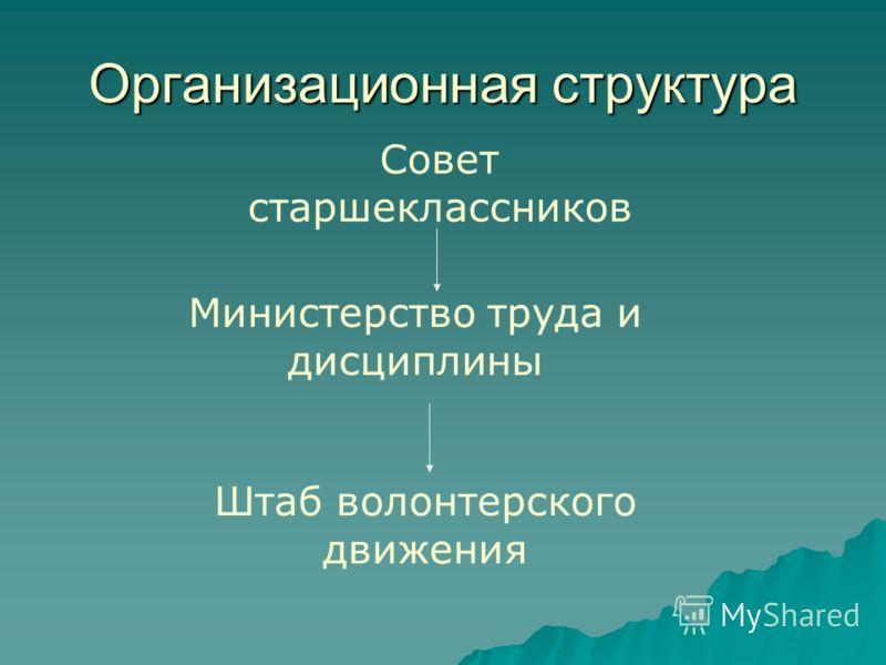 Организационная структура Совет старшеклассников Министерство труда и дисциплины Штаб волонтерского движения