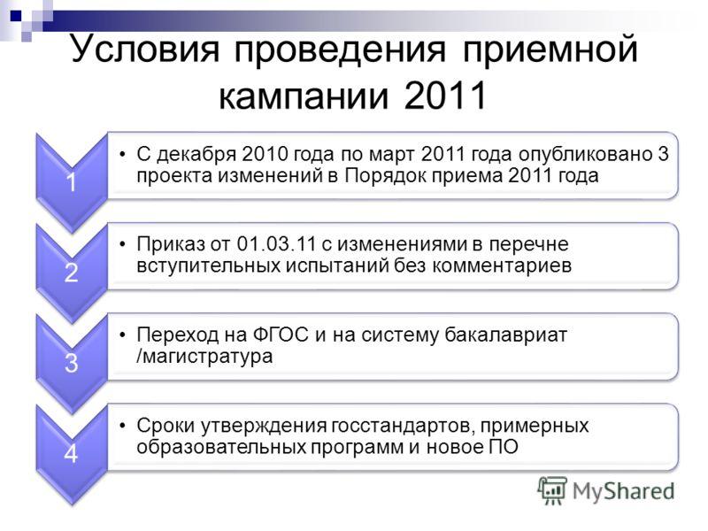 Условия проведения приемной кампании 2011 1 С декабря 2010 года по март 2011 года опубликовано 3 проекта изменений в Порядок приема 2011 года 2 Приказ от 01.03.11 с изменениями в перечне вступительных испытаний без комментариев 3 Переход на ФГОС и на