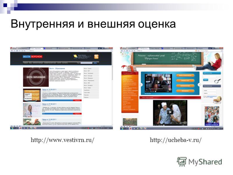 Внутренняя и внешняя оценка http://www.vestivrn.ru/http://ucheba-v.ru/