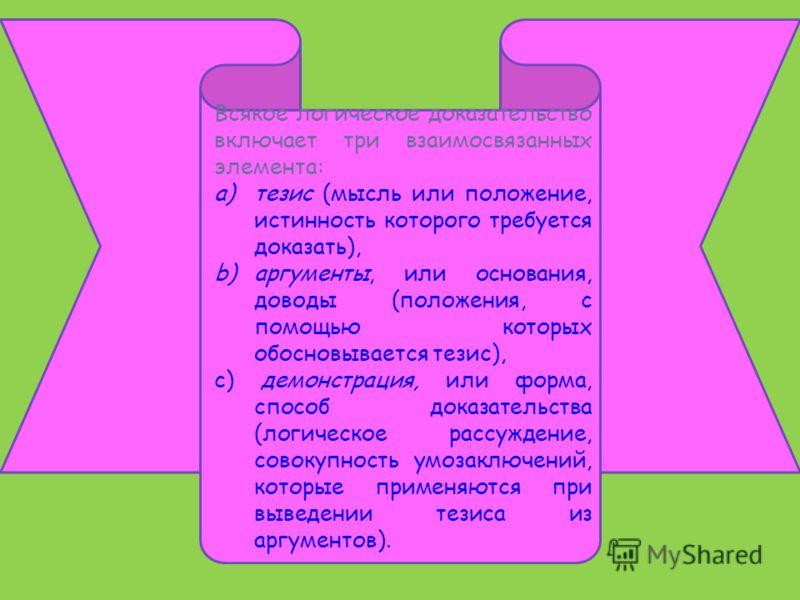 Всякое логическое доказательство включает три взаимосвязанных элемента: a)тезис (мысль или положение, истинность которого требуется доказать), b)аргументы, или основания, доводы (положения, с помощью которых обосновывается тезис), c) демонстрация, ил
