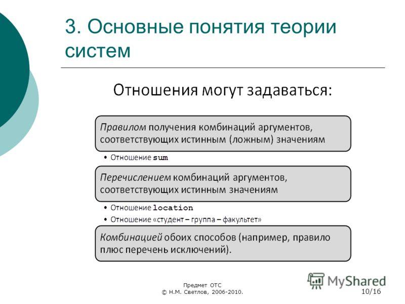 3. Основные понятия теории систем Предмет ОТС © Н.М. Светлов, 2006-2010. 10/16