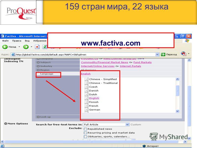 159 стран мира, 22 языка www.factiva.com
