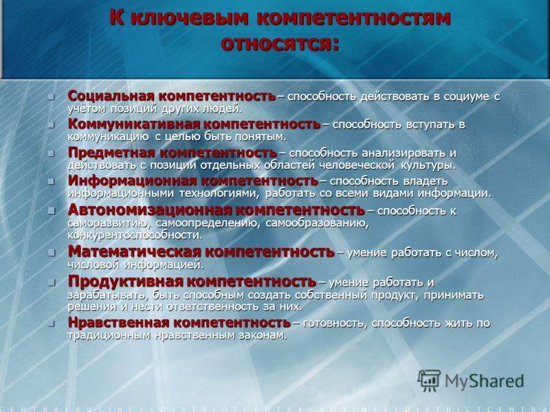 Компетентности классифицируются: включают (работа с числом, коммуникативная, информационные технологии, самообучение, работа в команде, решение проблем, быть человеком). Ключевые, включают (работа с числом, коммуникативная, информационные технологии,