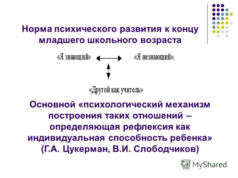 Норма психического развития к концу младшего школьного возраста Основной «психологический механизм построения таких отношений – определяющая рефлексия как индивидуальная способность ребенка» (Г.А. Цукерман, В.И. Слободчиков)