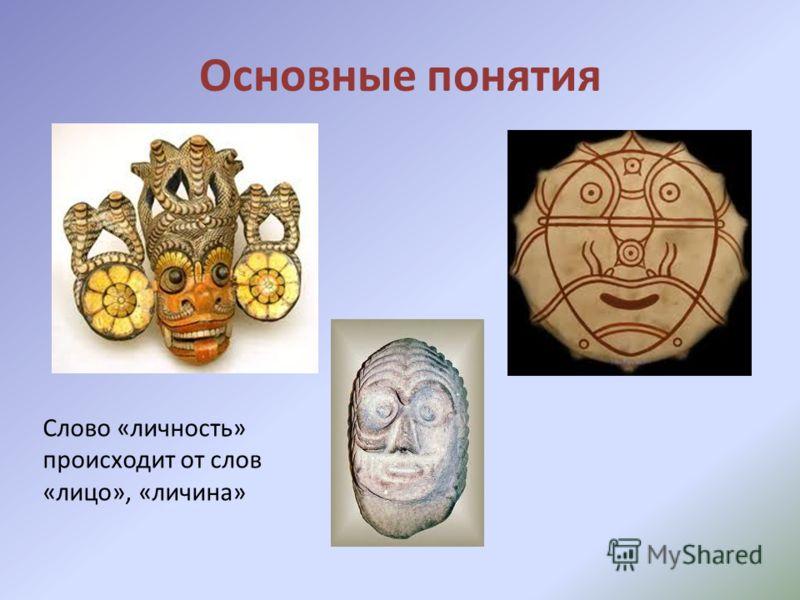 Основные понятия Слово «личность» происходит от слов «лицо», «личина»