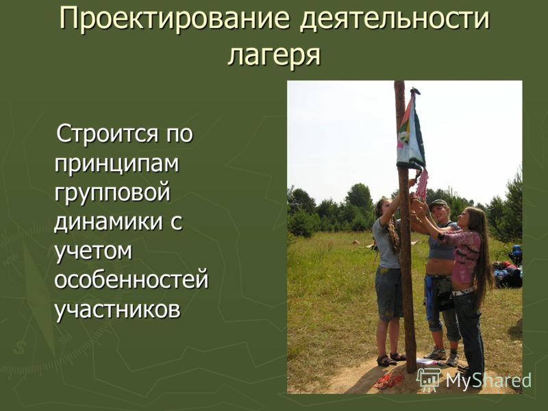 Проектирование деятельности лагеря Строится по принципам групповой динамики с учетом особенностей участников Строится по принципам групповой динамики с учетом особенностей участников