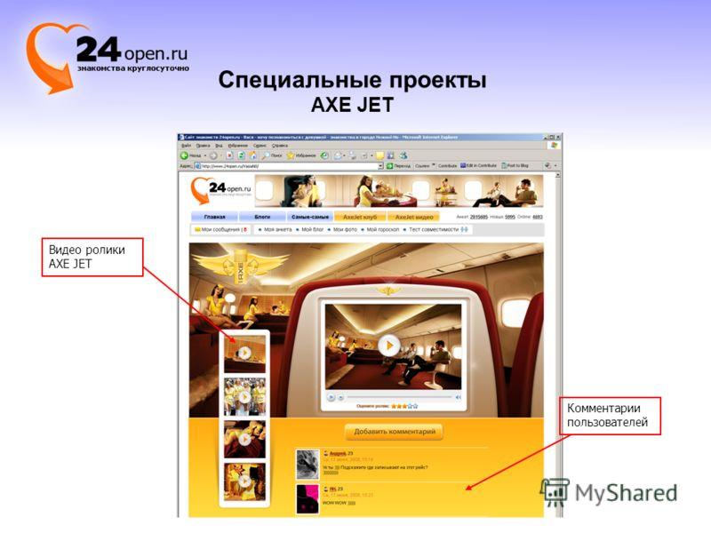 Комментарии пользователей Видео ролики AXE JET Специальные проекты AXE JET