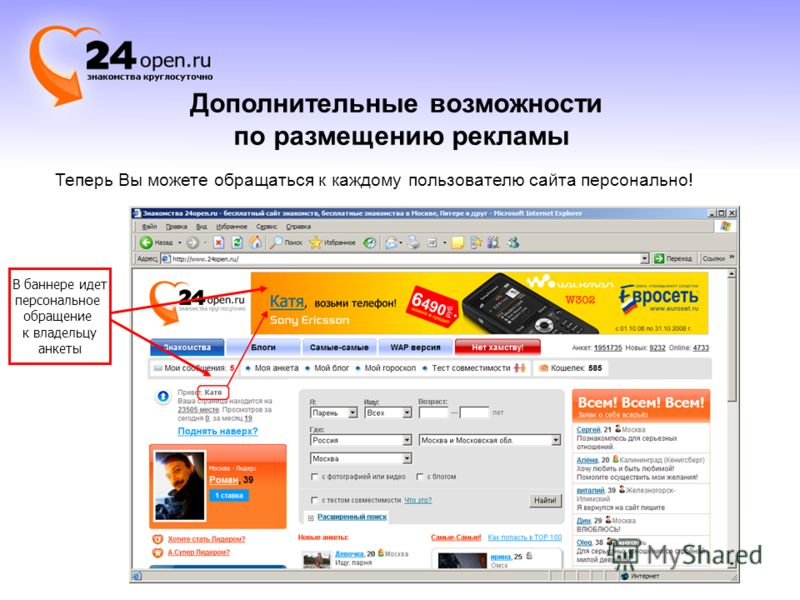 Дополнительные возможности по размещению рекламы В баннере идет персональное обращение к владельцу анкеты Теперь Вы можете обращаться к каждому пользователю сайта персонально!
