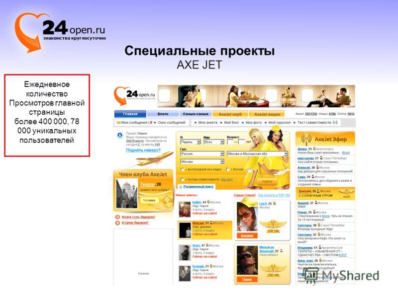Ежедневное количество Просмотров главной страницы более 400 000, 78 000 уникальных пользователей