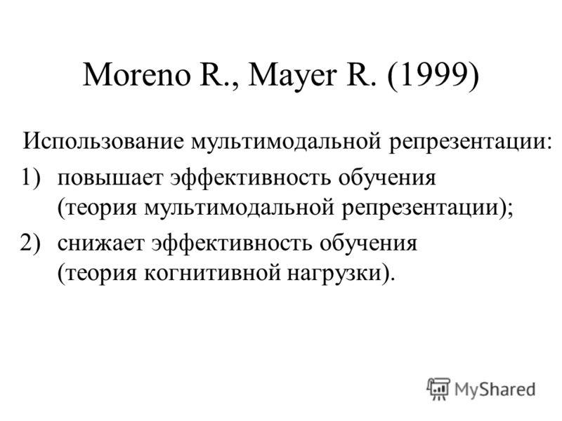 Moreno R., Mayer R. (1999) Использование мультимодальной репрезентации: 1)повышает эффективность обучения (теория мультимодальной репрезентации); 2)снижает эффективность обучения (теория когнитивной нагрузки).